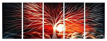 red metal art metal wall art abstract modern contemporary sculpture wall decor red sky tree red