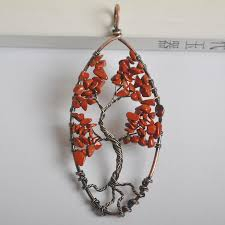 natural handmade tree of life red stone bronze copper wire wrap gem pendant jewelry s1312
