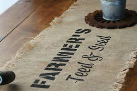 rustic farmhouse style decor jute burlap farmhouse kitchen table runner stenciled with vintage sign stencils