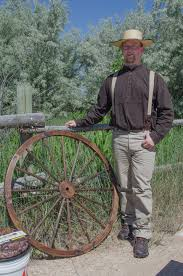mormon pioneer man. men\u0027s pioneer outfit: palm leaf hat, suspenders, and scully pants shirt. mormon man