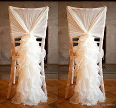 2016 new arrival chiffon chair covers for weddings flouncing ruffles diy creative wedding decorations ivory romantic chair sashes chair covers for weddings