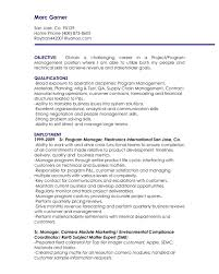 Program Manager Resume Objective The Letter Sample Project