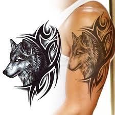 1ks Sketch Black Tattoo Samolepka ženy Muži 3d Body Art Vlk Dreamcatcher Indické Feather Flower Arm Dočasné Tattoo Samolepka At Vova