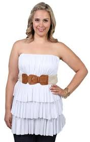 plus size tube tops plus size strapless tiered tube top with belted waist plus size