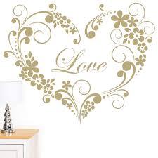 Rubybloom Designs Rubybloom Designs Love Flower And Swirl Heart Pattern Wall Sticker