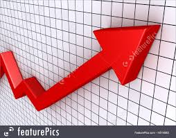 Business Graphics A Red Rising Graphic Chart With Arrow And Grid