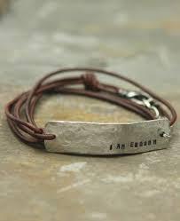 i am enough inspirational leather wrap bracelet diy leather bracelet leather jewelry metal jewelry