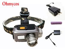ohmycos 268lm rechargeable hunting headlamp hiking flashlight outdoor torch