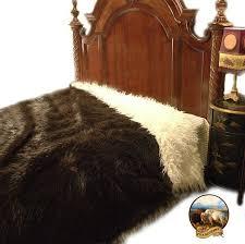 details about buffalo hide bear skin bedspread thick faux fur mongolian sheepskin lining