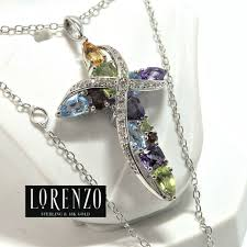 designer authentic coloresg by lorenzo solid 925 sterling silver genuine multi color stones cross necklace