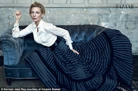 Image result for cate blanchett in button up and dark blue skirt