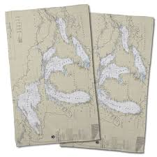 Great Lakes Nautical Chart Hand Towel Set Of 2 In 2019