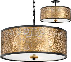cal fx 3649 3 tyndall antique gold drum pendant lamp ceiling lighting fixture cal fx 3649 3