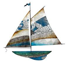 metal and capiz sailing ship wall art beach style wall accents by the seashell company