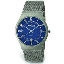 skagen mens blue dial titanium watch 233xlttn precision time skagen mens blue dial titanium watch 233xlttn