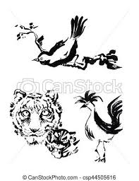 chinese tiger drawing. Fine Drawing Animal Chinese Brush Painting Drawing Tiger Rooster And Bird Caligraph   Csp44505616 Intended Chinese Tiger Drawing R