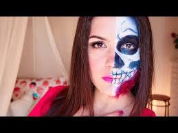 half skeleton half woman makeup tutorial