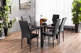 lunar rectangle black glass dining table and 6 black montero dining chairs set