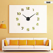 large wall clock frameless diy number 3d mirror