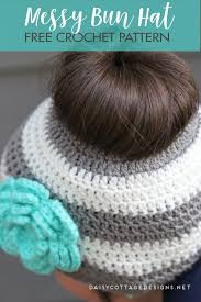 Free Crochet Pattern For Messy Bun Hat Impressive Ponytail Hat Crochet PatternMessy Bun Hat Pattern Daisy Cottage