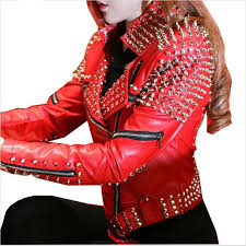2018 whole red leather jacket women punk rivets studded motorcycle leather spiked leather jackets veste en cuir femme cazadora cuero mujer from bailanh