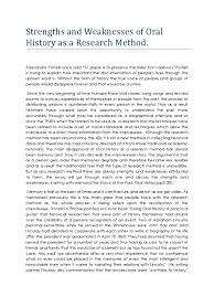 strengths and weaknesses of oral history as a research method  strengths and weaknesses of oral history as a research method oral history interview