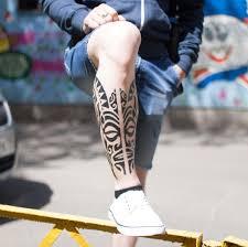 полинезийская тату на икре Reutov Tattoo