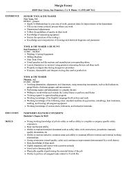 Grinder Sample Resumes Tool Die Maker Resume Samples Velvet Jobs 8