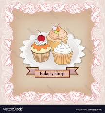 Cake Set Cafe Menu Background Bakery Label Sweet Vector Image