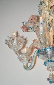 italian lovely antique blue and pink murano glass chandelier for