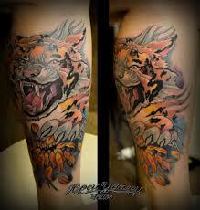 татуировка тигр и хризантема