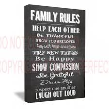 framed canvas print family rules help each other be thankful know you are loved