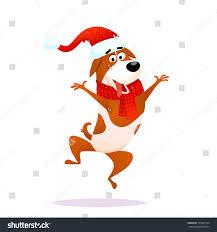 Jumping Dog Design Funny Cartoon Jumping Dog Xmas Flat Stock Vector Royalty