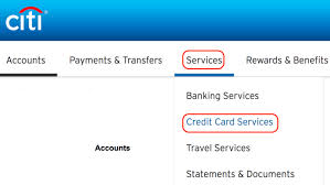 log in to your account and on services then credit card services
