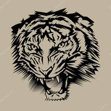 тигр трайбл ревущий тигр головы Isolatedtattoo векторное