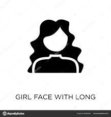 Girl Face Long Hair Icon Girl Face Long Hair Symbol Stock Vector