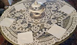 round tablecloth hand made with lace ribbon 100 cm in diameter 6