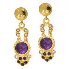 amethyst pearl and blue agate stone drop earrings