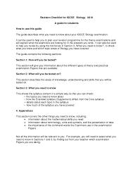 igcse revision checklist biology  revision checklist