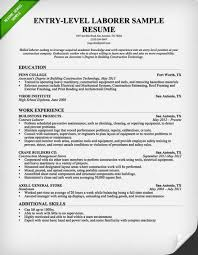 Entry Level Construction Laborer Sample Resume Build Your