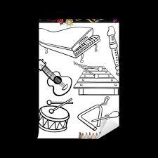 Fotobehang Cartoon Muziek Instrumenten Kleurplaat Pixers We
