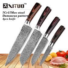 Xituo 4 Pièces Set Couteau De Cuisine Imitatif Damas Professionnel
