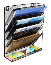 office magazine racks. AmazonSmile : Mesh Wall Mounted Hanging Document \u0026 File Organizer - 5 Compartment Vertical Magazine Rack Office Racks