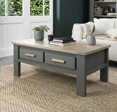 scandi oak coffee table with drawers