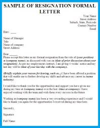 Formal Resignation Letter Format resignation letter format with notice period