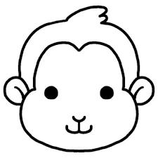 サル猿動物の顔動物無料白黒イラスト素材