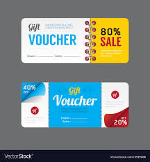 coupon design gift voucher coupon template design paper label vector image