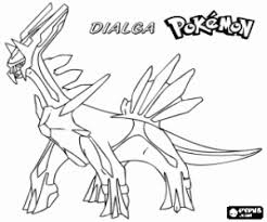 Small Picture Dialga a dragon Pokemon coloring page printable game