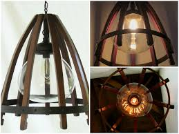 medusa recycled oak wine barrel staves hoop pendant light with glass shade recyclart