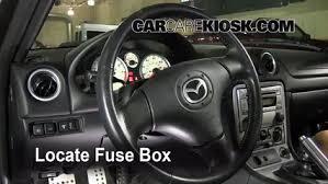 interior fuse box location 1999 2005 mazda miata 2005 mazda miata locate interior fuse box and remove cover